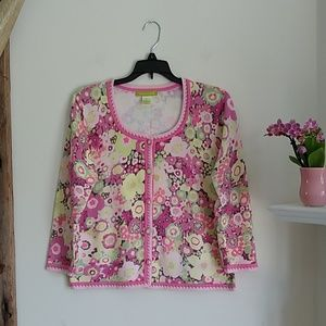 Sigrid Olsen Floral button-down sweater M